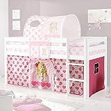 Vorhang 3-teilig 100% Baumwolle Stoffvorhang inkl Klettband für Hochbett Spielbett Etagenbett Stockbett Kinderbett pink rosa Kinderzimmer
