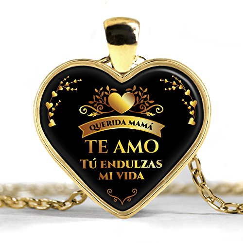 Collar Corazon de Oro Plateado Regalo para mi mamá - Necklace heart gold plated