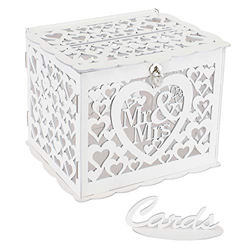 (Ywlake Wedding Money Box Holder with Sign, Large Rustic Wood Wooden DIY Envelop Gift Card Boxes with Lock Slot for Reception Anniversary Graduation Birthday Party Parties (Mr & Mrs, White))