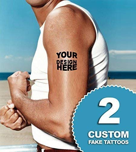 Custom temporary tattoos | Fake removable customized tattoo personalized designs | Order temp tats of your logo. Last 2-5 days & go on with water. Removeable party sticker decals