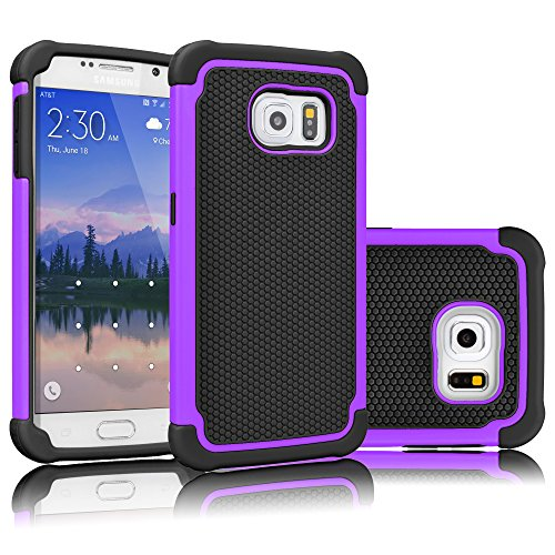 (Tekcoo for Galaxy S6 Case, [Tmajor Series] [Purple/Black] Shock Absorbing Hybrid Rubber Plastic Impact Defender Rugged Slim Hard Case Cover Shell for Samsung Galaxy S6 S VI G9200 GS6 All Carriers)