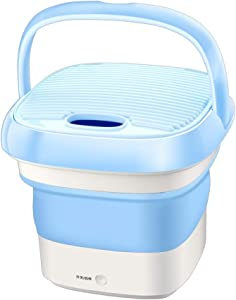 XHCP Portable Washing Machine Travel Ultrasonic Washing Machine , USB Laundry Cleaner Telescopic, Spin Function Single Barrel Removable, Dorms Apartments College Rooms,Blue