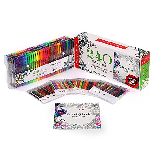 luding Bonus Art Coloring Book - 120 Unique Colors pens with the case + 120 Free Refills. Perfect for Drawing, Scrapbooking, Coloring, Doodling, Sketching and Craft (Scrapbooking Pencils)