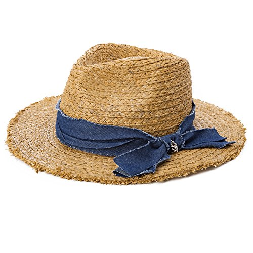 [Siggi 100% Raffia Straw Braided Panama Hat SPF50+ Fedora Summer Beach Sun Hats for Women Camel] (Straw Safari Hat)