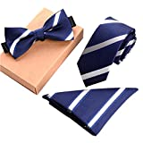 Lanburch Fashionable Premium Formal/Informal Ties Set, Necktie/Bow Tie/Pocket Square for Mens/Boys, Blue and White Stripes