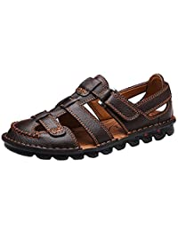 JIONS Men's Closed-Toe Leather Sandal Casual Outdoor Adjustable Strap Summer Fisherman Shoes