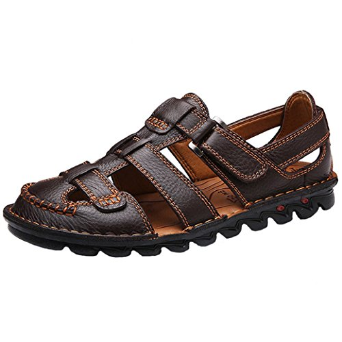 - JIONS Closed Toe Leather Fisherman Sandals for Men Men's Casual Outdoor Adjustable Strap Summer Shoes (10 D(M) US, Brown)