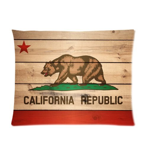Custom Cotton & Polyester Soft Pillow Case Cover 20X26 (One Side) - California State Flag California Golden Bear Pattern Red Star Stripe Wood Background Pillowcase