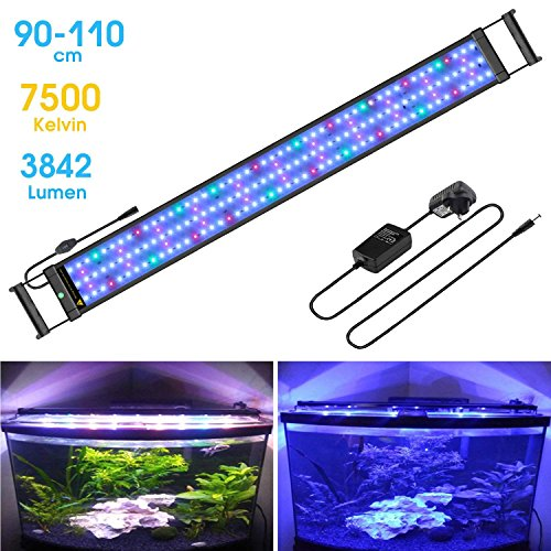 (FTALGS LED Aquarium Light with Extendable Brackets, Full Spectrum LEDs,Fish Tank Light for Fresh Water and Salt Water. (60A=21.6''-29.5''(50CM)))