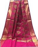 India Art Silk Dupatta Women Scarf Stole Gold Zari party wedding favor Rani Pink