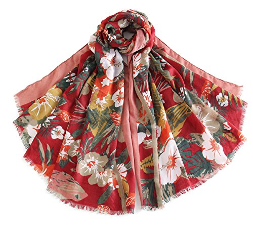 Cindy & Wendy Women Lightweight Fashion Soft Cotton Print Scarf with Tassel -