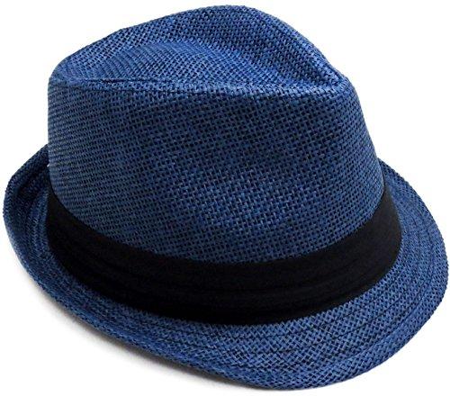 Verabella Straw Fedora Women/Men's Summer Short Brim Panama Sun Hat,Navy,LXL