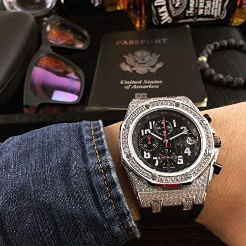 Luxury Brand Top high Japanese Quartz Chronograph Watch Watches Silver case with Stones All Black dial and -