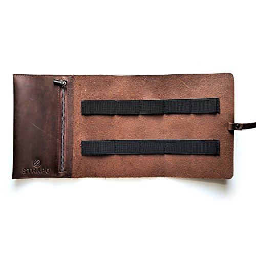 Strapo Design Genuine Leather Accessory Pouch – Handmade Leather Cord Organizer for Men and Women – Durable Electronic Gadgets Carrying Case for Chargers, Earphones, Keys, Memory Cards and Other Small