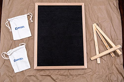 Large Letter Board & Accessories Set—550 Changeable White Plastic Letters—2 Letter Holder Bags and Wooden Stand—12 x 16 Inch Wood Frame, Black Felt, Wall Mount—Decorative Sign, Big Bulletin, Marquee