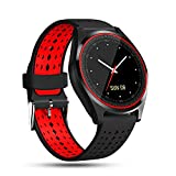 Smart Watches for Men, LEEGOAL V9 Bluetooth Wristwatch with Round Touch HD Screen, SIM& & TF Card Slot, Pedometer, Sleep Monitor, SMS, Call and Sedentary Reminder for Android iOS (2#)