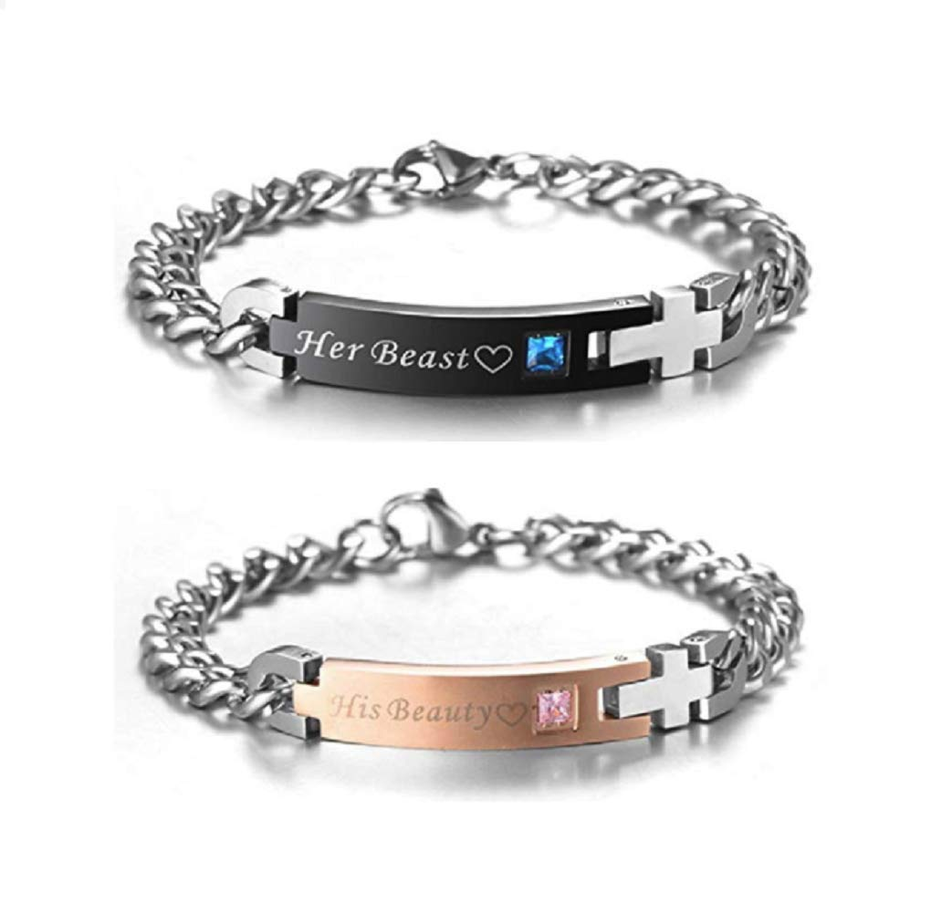His Beauty Her Beast Stainless Steel Matching Bracelets for Boyfriend and Girlfriend (2pcs)