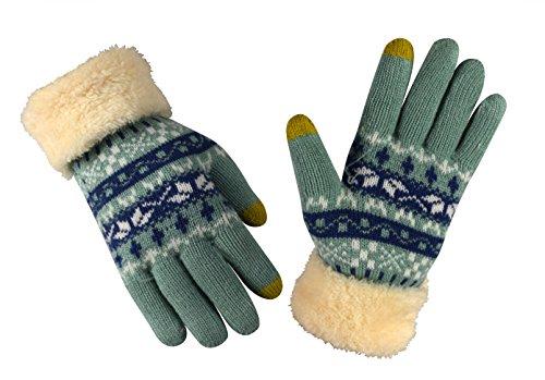ピーチCouture Double Layer LushフリースタッチスクリーンHolidayパターン冬手袋