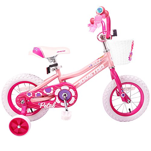 JOYSTAR 12 Inch Pink Kids Bike Girls 2-4 Years Training Wheels & Basket & Bike Streamers, 12 ()