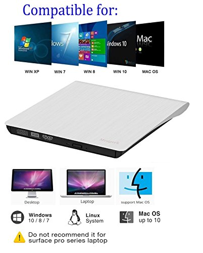 External USB 3.0 DVD Drive, Mougerk USB 3.0 Ultra Slim Portable CD DVD RW Reader Writer Burner Drive for Windows 10 Laptop Desktops Apple Mac Macbook Pro White by Mougerk (Image #3)