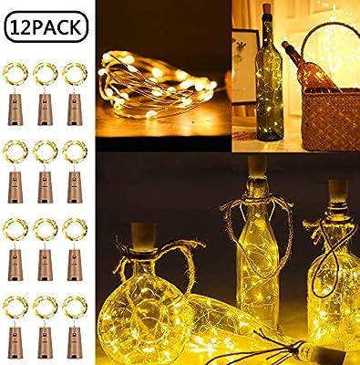 luz de Botella Led, 12 Pack luces LED para Botellas de Vino 2m 20 ...