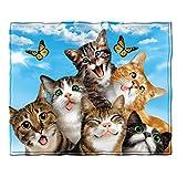 Dawhud Direct Cats Selfie Fleece Throw Blanket