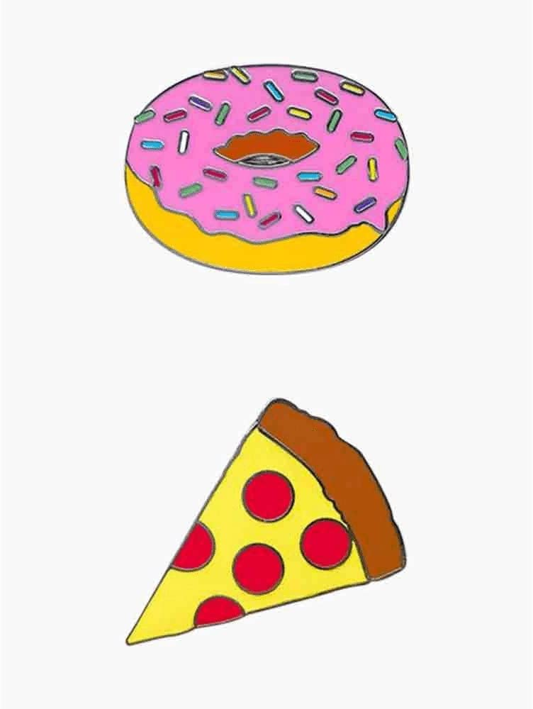 iDecoz Pizza and Donut Cell Phone Charms Double Pack - Two Metal Charms to Decorate Your Cell Phone with Your Favorite Foods
