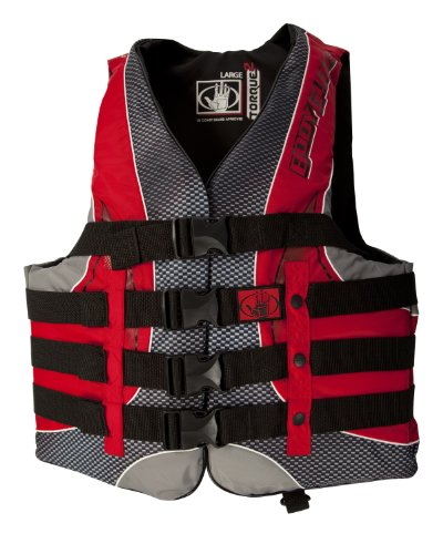 Body Glove Men's US Coast Guard Approved Type III Torque 2 Nylon PFD Life Vest (Black/Red, ()
