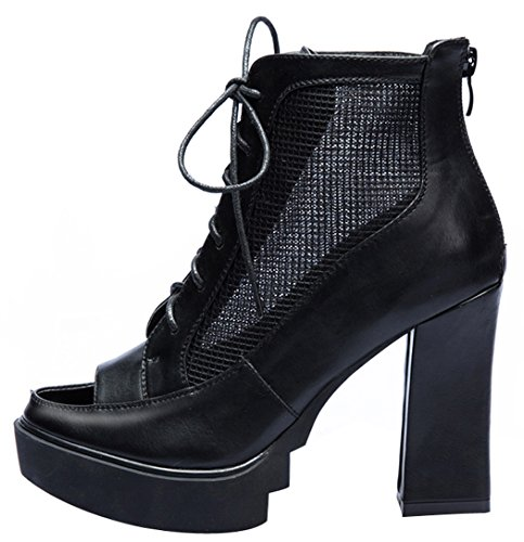 Laikakingdom Breathe Grenadine Fashion Peep-toe Rough Heel Lady Shoes(7.5 B(W) US, Black)