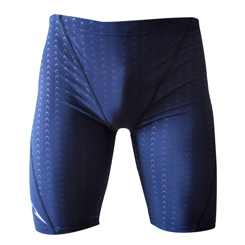 TIFENNY Men's Brand Stripe Sexy Nylon Breathable Bulge Briefs Quick Drying Swimming Trunks Solid Soft Shorts Pants Blue