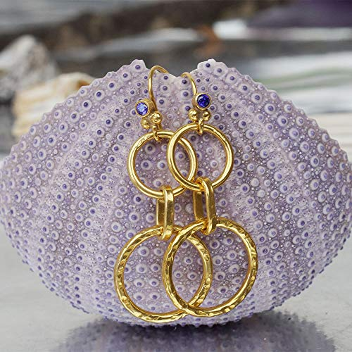 Omer 925 k Sterling Silver Hammered Circle Earrings W/Amethyst Hook 24k Gold Vermeil