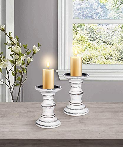 Wooden Candle Holders Piller Farmhouse Set of 2, Height 7.5 Inch in White Color, Rustic Candle Holder Set 2, Wooden…