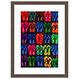 Cheap eFrame Fine Art | Colorful Flip Flops, Beach Coastal Life by Blaine Harrington 16″ x 24″ Photograph Print Framed Wall Art for Wall or Home Decor (Barnwood Brown Rustic Frame)