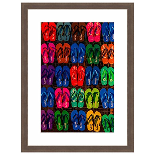 eFrame Fine Art | Colorful Flip Flops, Beach Coastal Life by Blaine Harrington 12″ x 18″ Photograph Print Framed Wall Art for Wall or Home Decor (Barnwood Brown Rustic Frame) Review