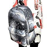DDLBiz Galaxy Pattern Unisex Travel Backpack Canvas Bags School Bag (Black)