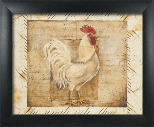 2 Framed Rustic Rooster Art Prints Country Kitchen Farm Home Decor 8x10