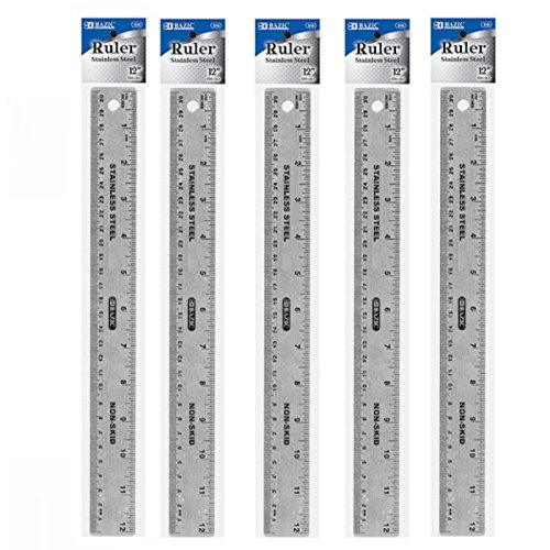 5 Stainless Steel Quality Non-Skid Cork Back Straight Ruler 12'' (30cm), Protects Surfaces, Hanging Hole straight edge for drawing straight lines on wood and metal