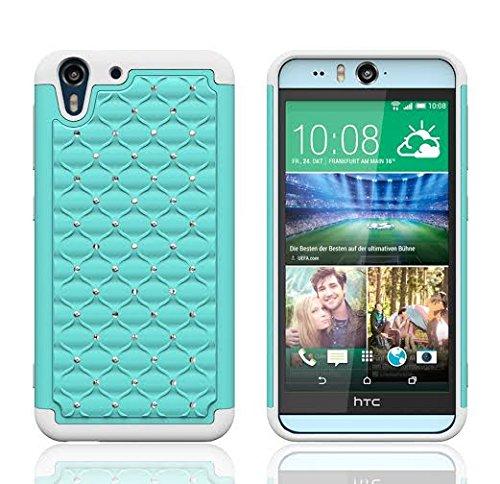 HTC Desire Eye 4G LTE Case, Defender Bling Hybrid Gel Protector Diamond Hybrid) Cover (TEAL ON WHITE SKIN)