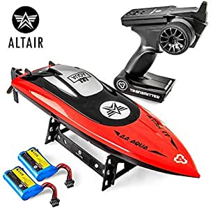 Altair AA Aqua RC Boat: Great Gift for Kids and Adults, Anti-Capsize Hull System, 2.4Ghz Radio Controller, Water-Cooled Engine, 2 Batteries, 100 Meter Range, 30 km/h Speed!