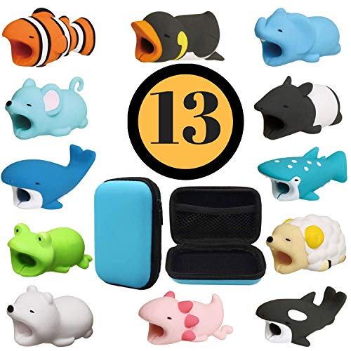 Animal Buddies Phone Cord Bites - Cable Protector for iPhone - Cute Animals Protects Cell Phone Accessories & Bites Data Line - Bite Cord Phone Accessory (13 Pieces w/Pouch)