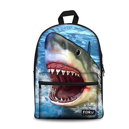 Print Canvas Laptop Computer (HUGS IDEA Fashion 3D Shark Print Canvas Laptop Bagpack School Bag Backpack for Men Navy Blue)