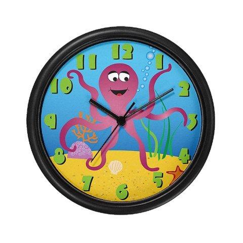 """Lightweight Black Plastic Framed Under the Sea Octopus Wall Art Clock, 10"""""""