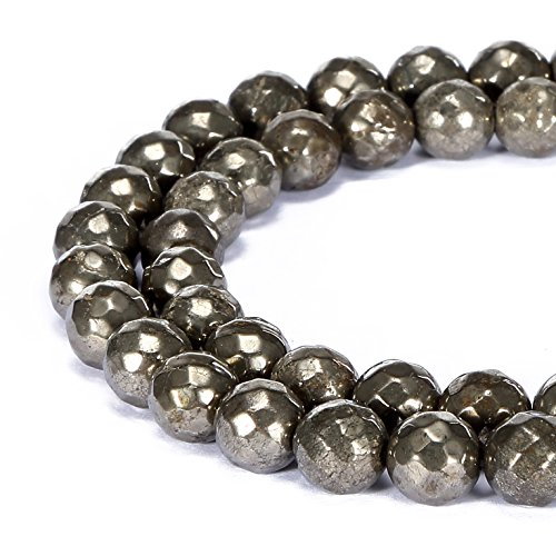 - BRCbeads Gorgeous Natural Dull Gold Pyrite Gemstone Faceted Round Loose Beads 8mm Approxi 15.5 inch 45pcs 1 Strand per Bag for Jewelry Making
