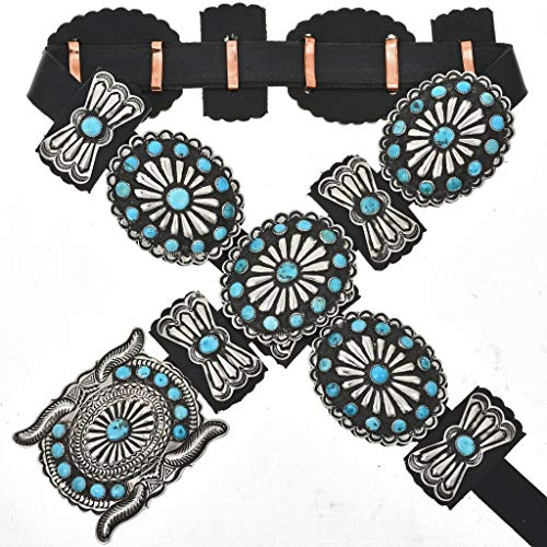 Old Pawn Style Turquoise Concho Belt Navajo Antiqued Silver 0010 ()