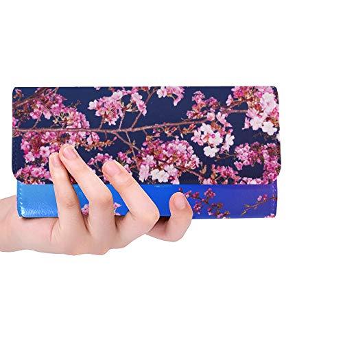 (Unique Custom Mimura Japan Sakura Cherry Blossom Highway City Ni Women Trifold Wallet Long Purse Credit Card Holder Case Handbag)
