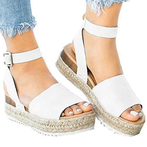 (Athlefit Women's Platform Sandals Espadrille Wedge Ankle Strap Studded Open Toe Sandals Size 6.5 White)