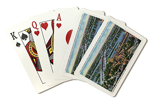 Moline, Illinois - Aerial View of Iowa-Illinois Memorial Bridge over Mississippi River (Playing Card Deck - 52 Card Poker Size with Jokers) ()