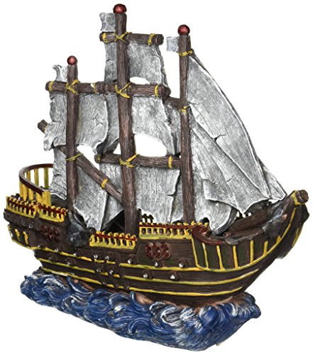 Penn Plax Large Pirate Wave Runner Ship Fish Tank Ornament
