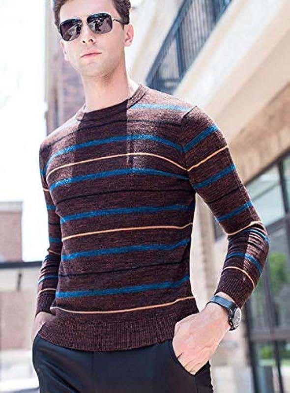Męski sweter wiosna jesień luźny sweter z dzianiny Fashion sweter z długim rękawem splice paski dzianina sweter: Odzież