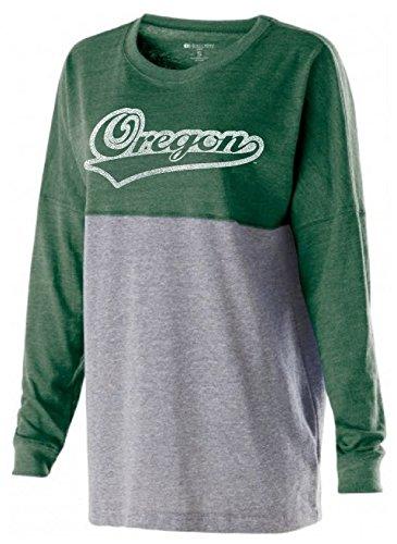 (Ouray Sportswear NCAA Oregon Ducks Women's Low Key Pullover Top, Medium, Vintage Forest/Vintage Grey )